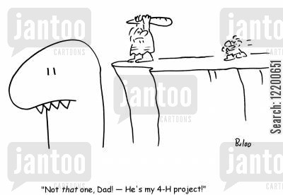 stone ages cartoon humor: 'Not that one, Dad!- He's my 4-H project!'
