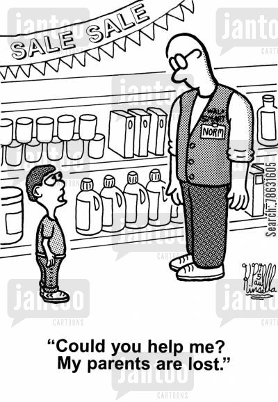 supermarket cartoon humor: 'Could you help me? My parents are lost.'