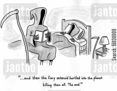 bedtimes cartoon humor: Death reads a bedtime story.
