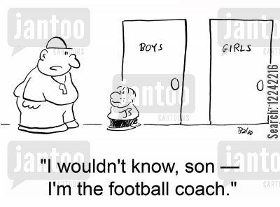 pupill cartoon humor: 'I wouldn't know, son -- I'm the football coach.'