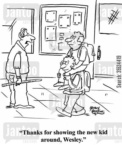 selflessness cartoon humor: 'Thanks for showing the new kid around, Wesley.'