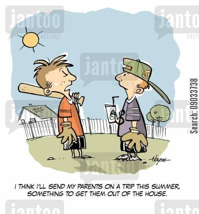 summer camps cartoon humor: 'I think I'll send my parents on a trip this summer, something to get them out of the house.'