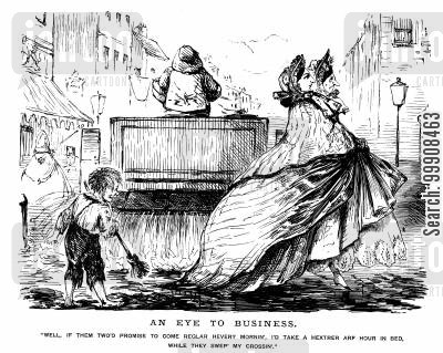 victorian fashion cartoon humor: A Sweeper and the Ladies