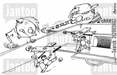 puppets cartoon humor: Children playing really hard at complex table football game