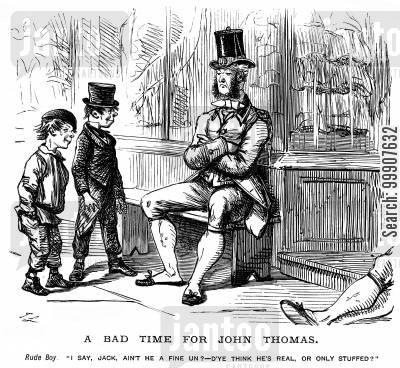 cheeky boy cartoon humor: A Bad Time for John Thomas.