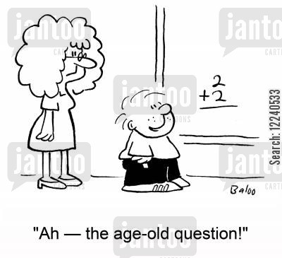 adding up cartoon humor: 2+2, 'Ah -- the age-old question!'