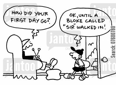 sir cartoon humor: First day at school