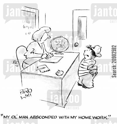 fathre cartoon humor: 'My ol' man absconded with my homework.'