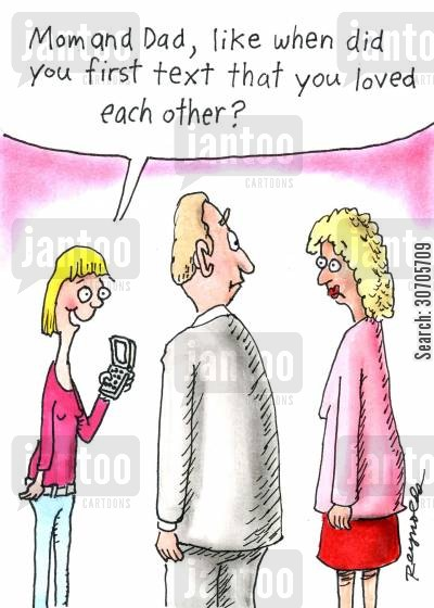 text message cartoon humor: 'Mom and Dad, like when did you first text that you loved each other?'