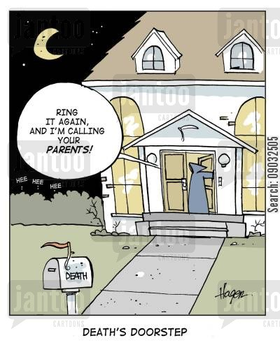 the grime reaper cartoon humor: 'Ring again and I'm calling your parents!' - Death's Doorstep.