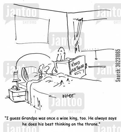 concentration cartoon humor: I guess Grandpa was once a wise king, too. He always says he does his best thinking on the throne.