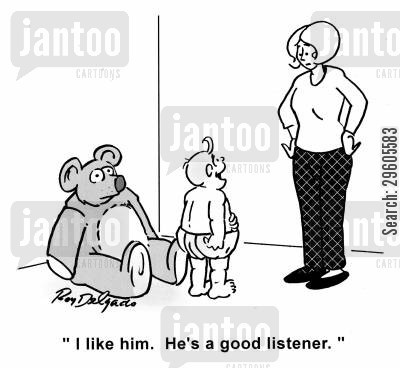 good listeners cartoon humor: 'I like him. He's a good listener.'