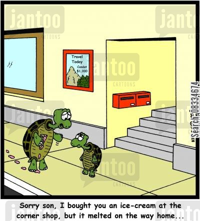 melt cartoon humor: 'Sorry son, I bought you an ice-cream at the corner shop, but it melted on the way home...'