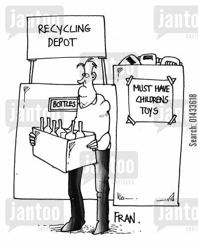 new toys cartoon humor: Recycling depot...must-have children's toys.