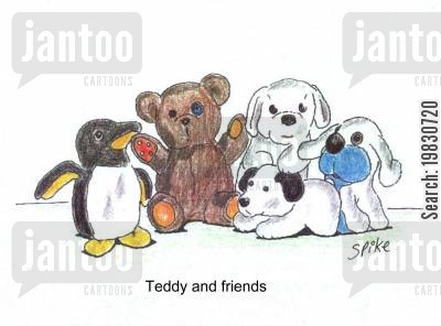 soft toys cartoon humor: Teddy and friends.