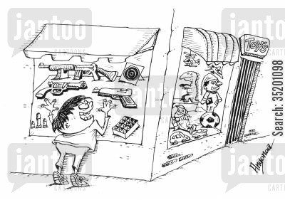 toy store cartoon humor: Toy guns.