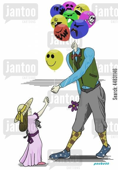 cities cartoon humor: A balloon vendor hands a child his only 'good' face out of many,less than desireable faces.