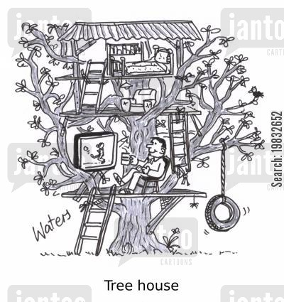 playgrounds cartoon humor: Tree house.