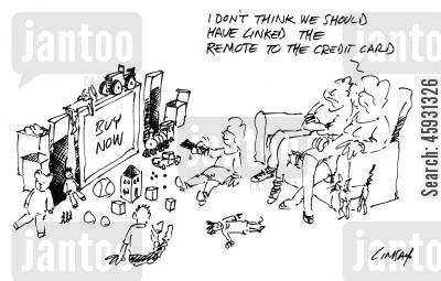 tv remotes cartoon humor: I don't think we should have linked the remote to the credit card.