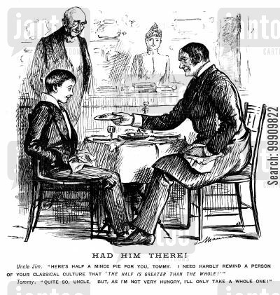 uncles cartoon humor: Uncle Giving Boy a Mince Pie