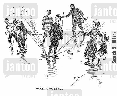 street urchins cartoon humor: Water-works.