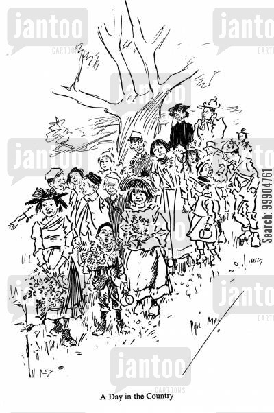 victorian kid cartoon humor: A day in the country.