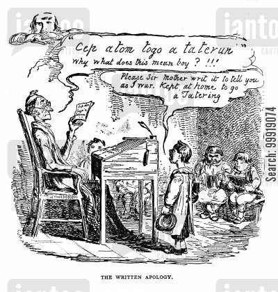 victorian school cartoon humor: The Written Apology