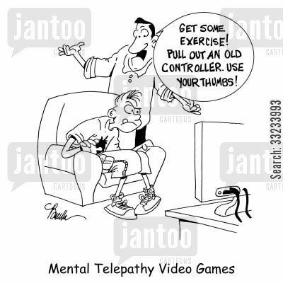 mental telepathy cartoon humor: Mental Telepathy Video Games.