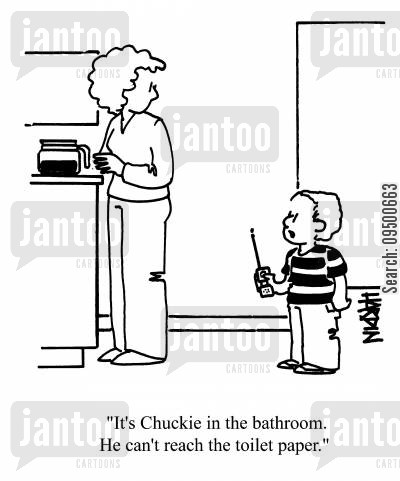 child monitor cartoon humor: 'It's Chuckie in the bathroom. He can't reach the toilet paper.'