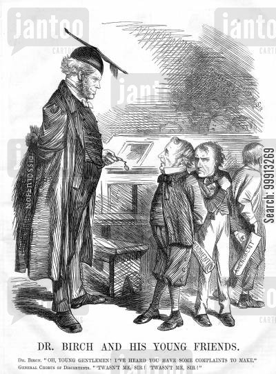 expenditure cartoon humor: The opposition as nervous school children and Lord Palmerston as schoolmaster