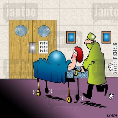 midwives cartoon humor: Sign on the maternity ward door reads 'Push, push, push.'