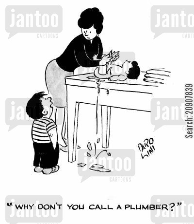 changing mats cartoon humor: 'Why don't you call a plumber?'