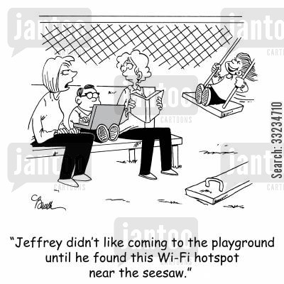 computer addict cartoon humor: 'Jeffrey didn't like coming to the playground until he found this Wi-Fi hotspot near the seesaw.'