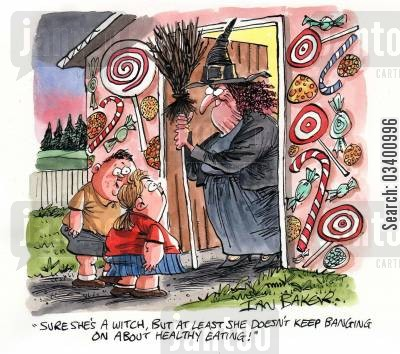 eating healthily cartoon humor: 'Sure she's a witch, but at least she doesn't keep banging on about healthy eating!'