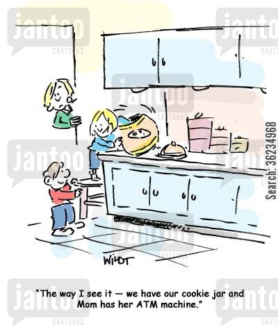 indulgence cartoon humor: kid compares cookie jar to mother's ATM.