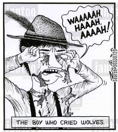sob cartoon humor: The boy who cried wolves - 'WAAAAAH, HAAAH, AAAAH!'