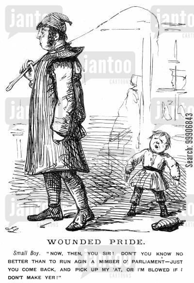 disrespectful cartoon humor: A small boy demanding that a man pick up his hat