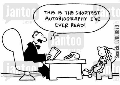 publishing agent cartoon humor: 'This is the shortest autobiography I've ever read!'