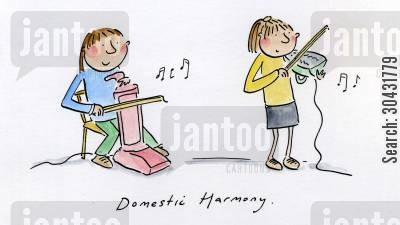 composition cartoon humor: Domestic Harmony.