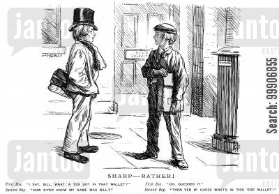 detective work cartoon humor: A boy acting suspiciously