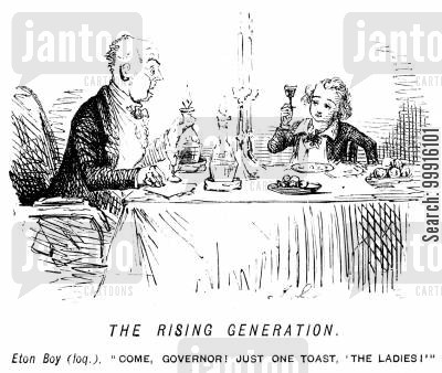 schoolboy cartoon humor: Precocious boy makes a toast to the ladies