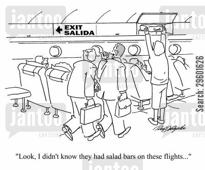 translation cartoon humor: 'Look, I didn't know they had salad bars on these flights...'