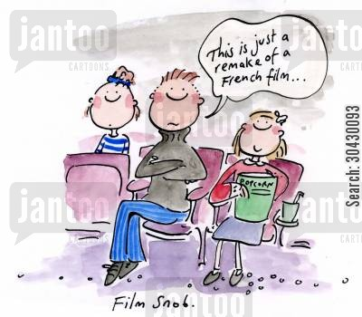 french film cartoon humor: Film snob.
