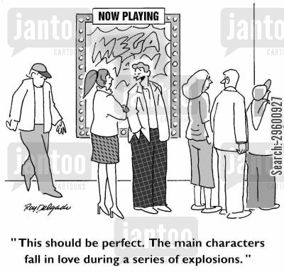 romance cartoon humor: 'This should be perfect. The main characters fall in love during a series of explosions.'