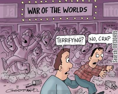 movie theatres cartoon humor: War of the worlds movie.