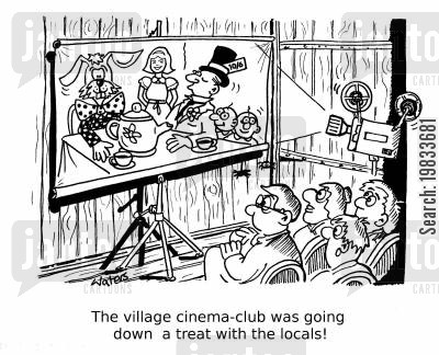 premier cartoon humor: The village cinema-club was going down a treat with the locals!