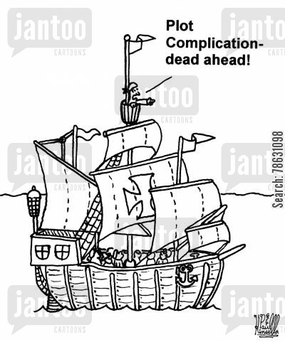 sailors cartoon humor: 'Plot complication dead ahead!'