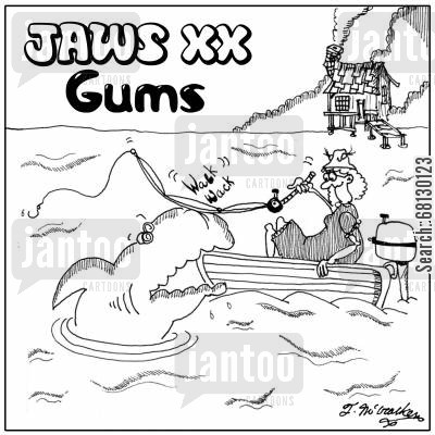 geriatrics cartoon humor: Jaws XX: Gums.