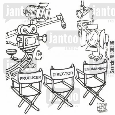 egomaniacs cartoon humor: Producer, Director and Egomaniac Chair
