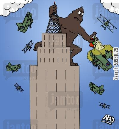 bug spray cartoon humor: King Kong uses fly spray against the pesky planes on top of the Empire State Building